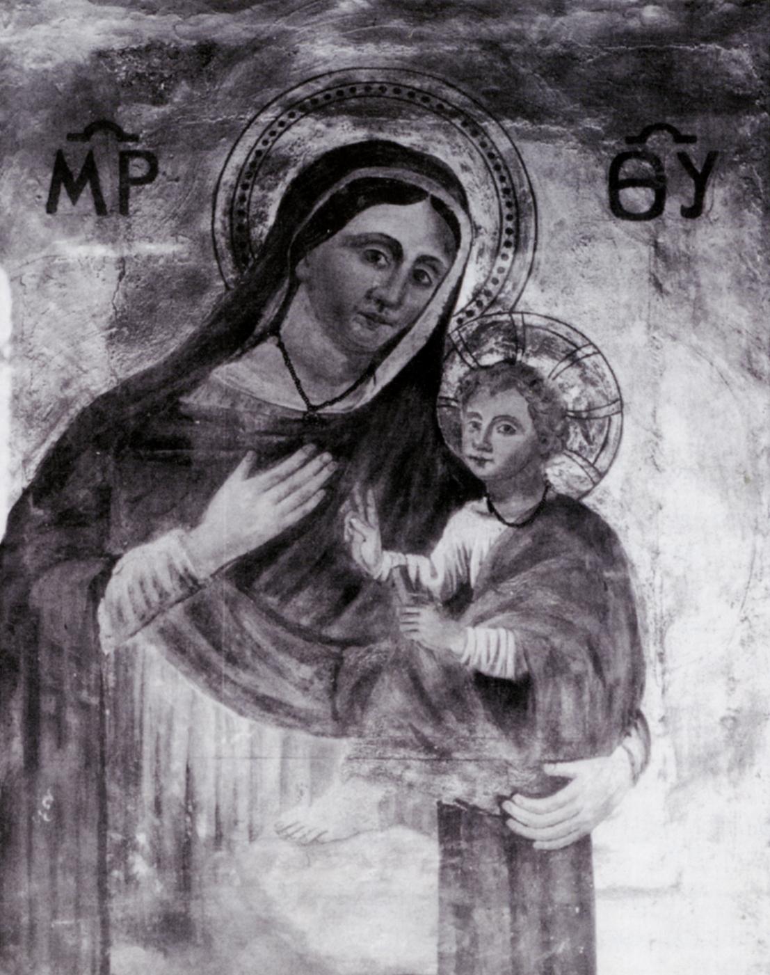 affresco Madonna delle nove all'interno della basilica di San Giovanni Battista
