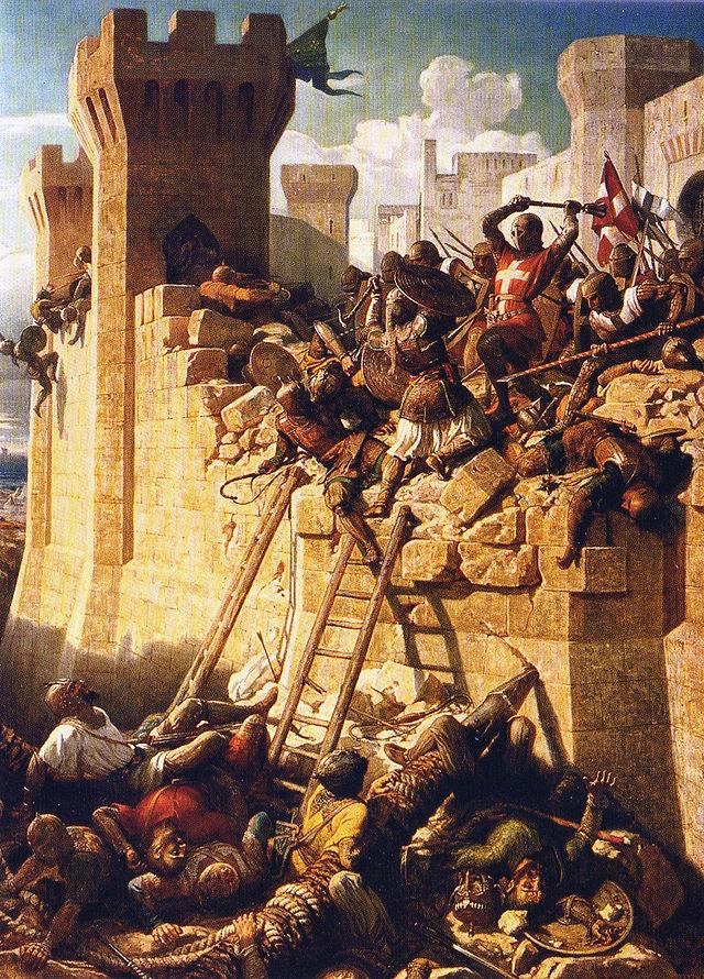 """Dipinto raffigurante l'assedio del 1291 della città di Accon - (""""Akkon"""" secondo alcune cronache contemporanee)"""